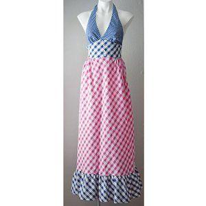 Vintage Pinup Halter Maxi Dress Check Pink Blue